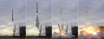 (左から)打ち上げ直後に落下し、炎上する小型ロケットMOMO2号機=30日、北海道大樹町
