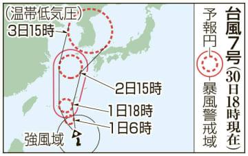 台風7号の予想進路(30日18時現在)