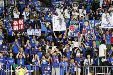 選手に声援を送る徳島ヴォルティスサポーター=6月30日、鳴門ポカリスエットスタジアム