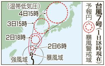 台風7号の予想進路(1日18時現在)