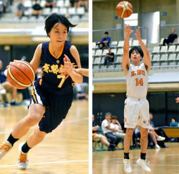 相手を振り切りゴール下に切り込む京都精華学園高の渡辺(左)、3点シュートを決め、勝利に貢献した京産大の川口=向日市民体育館