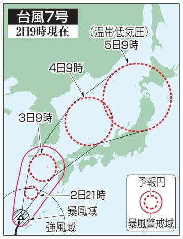 台風7号の予想進路(2日9時現在)