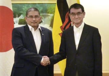会談を前に握手する河野外相とブルネイのエルワン第2外務貿易相=2日、外務省