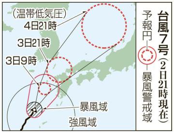 台風7号の予想進路(2日21時現在)