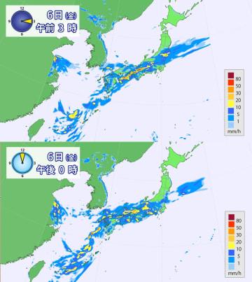 6日午前3時と6日正午の雨の予想