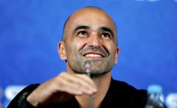 準々決勝のブラジル戦を控え、記者会見するベルギーのマルティネス監督=5日、カザン(ロイター=共同)