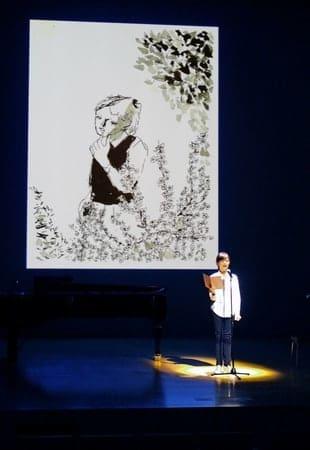 杉みき子さんの文学作品を朗読で楽しむ催しのリハーサル=上越市の高田公園オーレンプラザ