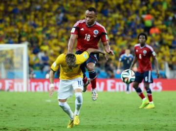 2014年7月4日に行われたブラジル対コロンビア戦。ネイマールを負傷退場に追い込んだスニガ photo/Getty Images