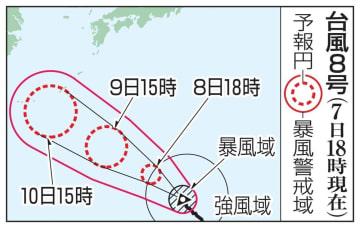 台風8号の予想進路(7日18時現在)