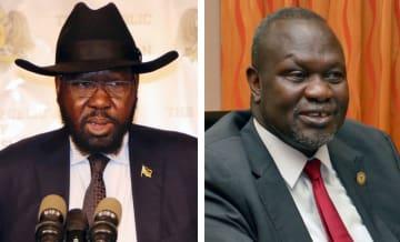 南スーダンのキール大統領(左、ロイター=共同)、マシャール氏(右)