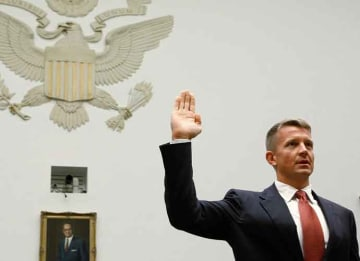 WASHINGTON - OCTOBER 02: Erik Prince, chairman of the Prince Group, LLC and Blackwater USA, is sworn in during a House Oversight and Government Reform Committee hearing on Capitol Hill October 2, 2007 in Washington DC. The committee is hearing...