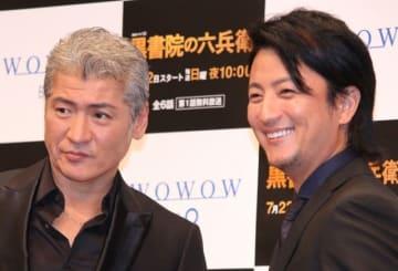 「連続ドラマW 黒書院の六兵衛」で共演する吉川晃司&上地雄輔 めっちゃ仲良し!
