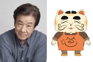 テレビアニメ「おしりたんてい」に出演する菅生隆之さん(左)と菅生さんが演じるカフェ・ラッキーキャットのマスター(C)トロル・ポプラ社/おしりたんてい製作委員会