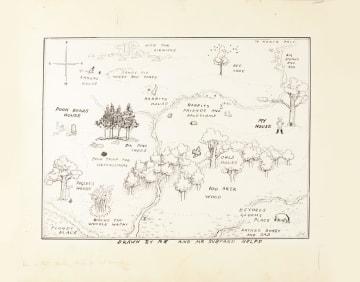 「くまのプーさん」がすむ「100エーカーの森」の地図の原画(サザビーズ提供、共同)