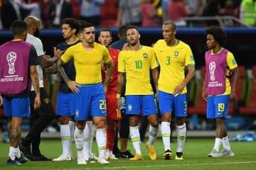 ベスト8敗退に打ちひしがれるブラジル代表の面々 photo/Getty Images