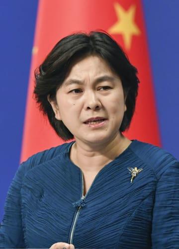 中国外務省で記者会見する華春瑩副報道局長=11日、北京(共同)