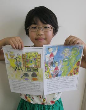 絵日記コンテストで日本のグランプリを受賞した島名小学校4年の岩田明香里さん=つくば市島名
