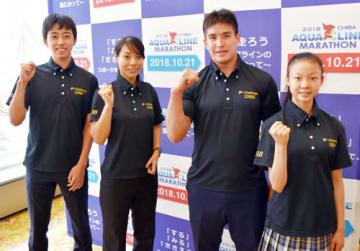 特別強化指定を受け、東京五輪・パラへ決意を新たにした(左から)木川田、杉野、ベイカー、柴山選手=11日、千葉市内のホテル