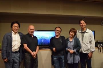 ▲左から江原正士さん、池田勝さん、原康義さん、安達忍さん、幹本雄之さん