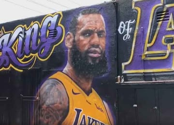 LeBron James mural in LA is vandalized and repainted