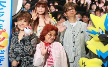 公開記念舞台あいさつに出席した松本梨香、野沢雅子、中川翔子、山寺宏一