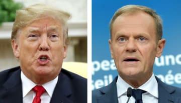 トランプ米大統領(左、AP=共同)、EUのトゥスク大統領(ロイター=共同)