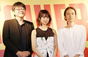 劇場版アニメ「未来のミライ」のオリジナル・サウンドトラック発売記念イベントに登場した(左から)細田守監督、上白石萌歌さん、高木正勝さん
