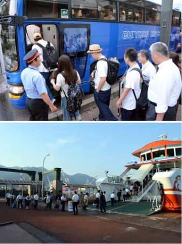 旧そごう呉店前からバスに乗り込む利用客(17日午前5時23分)