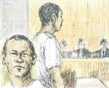 初公判に出廷したランパノ・ジェリコ・モリ被告(イラストと構成・勝山展年)