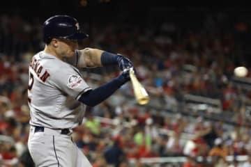 勝ち越し本塁打を放ったアストロズのアレックス・ブレグマン【写真:Getty Images】