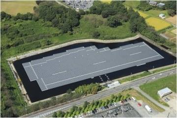アップル向け製品の電力を作る太陽グリーンエナジーの「嵐山水上太陽光発電所」