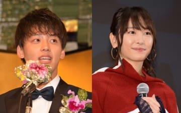 左が竹内涼真、右が新垣結衣(2018年、2017年に撮影)