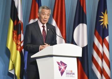 顔:Singapore PM Lee Hsien Loong, 2018042800667