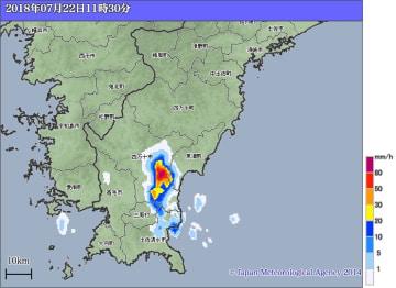 22日午前11時30分の高知県西部の雨雲の様子。出典=気象庁ホームページ