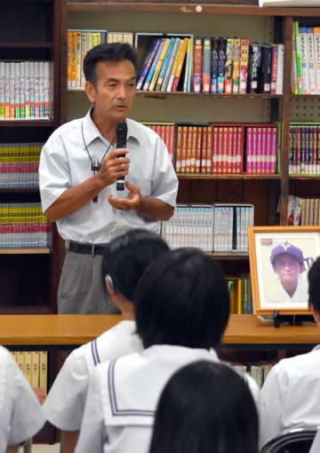 長男を交通事故で亡くした悲しみを中学生に語り掛ける笹森さん