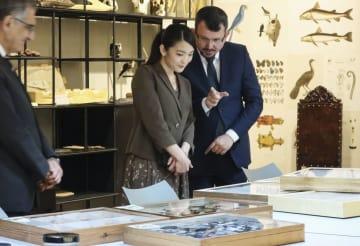 サンパウロ大の動物学博物館で、チョウなどの標本を見学される秋篠宮家の長女眞子さま=24日、サンパウロ(共同)