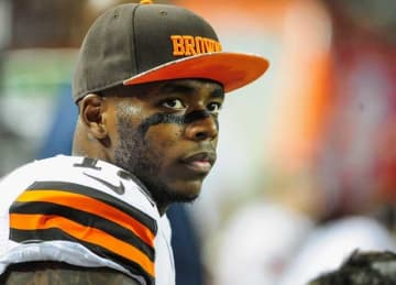 ATLANTA, GA - NOVEMBER 23: Josh Gordon #12 of the Cleveland Browns stands on the sideliens in the first half against the Atlanta Falcons at Georgia Dome on November 23, 2014 in Atlanta, Georgia. (Photo by Scott Cunningham/Getty Images)
