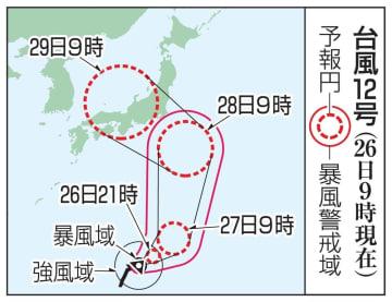 台風12号の予想進路(26日9時現在)