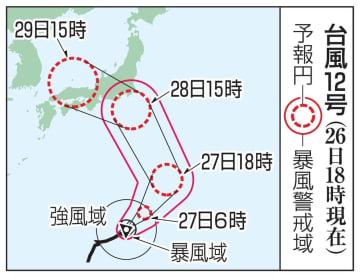 台風12号の予想進路(26日18時現在)