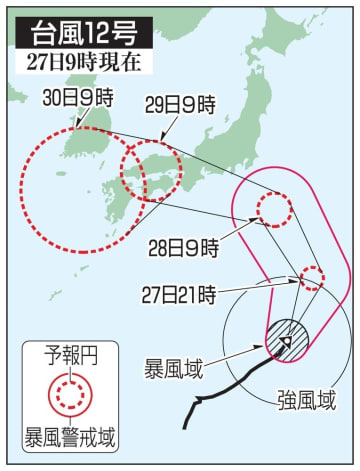 台風12号の予想進路(27日9時現在)