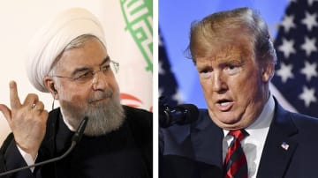 イランのロウハニ大統領、トランプ米大統領(ともにAP=共同)