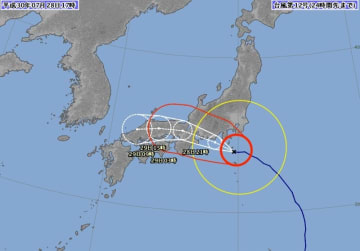 台風12号の予想進路(7月28日午後5時現在)