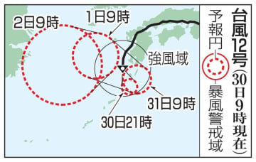 台風12号の予想進路(30日9時現在)