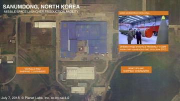 7日に撮影された北朝鮮・山陰洞のミサイル工場の衛星写真(プラネット・ラブズ/ミドルベリー国際大学院モントレー校ジェームズ・マーティン不拡散研究センター提供、共同)