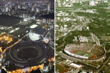 2020年東京五輪の開閉式が行われる新国立競技場の建設現場(左)=2018年7月、1964年10月10日の東京五輪開会式場(右)
