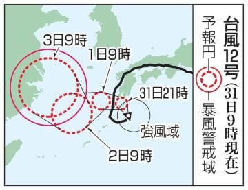 台風12号の予想進路(31日9時現在)