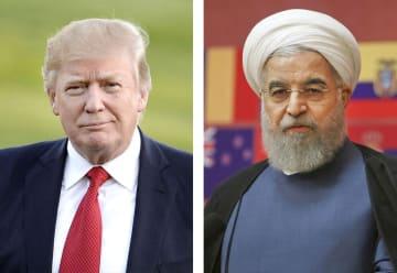 トランプ米大統領(ゲッティ=共同)、イランのロウハニ大統領(AP=共同)