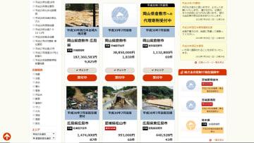 代行の自治体を通じ、西日本豪雨の被災地に寄付ができる「ふるさとチョイス」のホームページ(ふるさとチョイス提供)