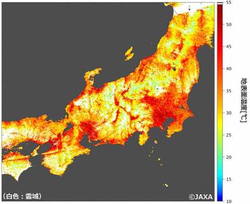 地球観測衛星「しきさい」が捉えた、1日午前10時40分ごろの本州中央部の地表温度。温度が高いほど濃い赤で示される。白の領域は雲を示す(JAXA提供)
