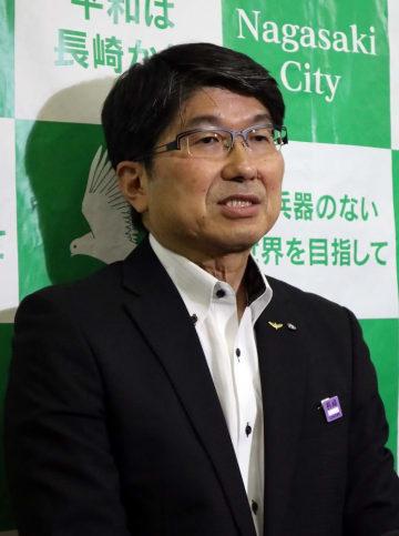 グテレス事務総長の式典出席への期待を語る田上市長=長崎市役所